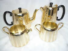 RETRO GOLD ANODISED 4 pce TEA & COFFEE SET - TOWERBRITE England vgood condition
