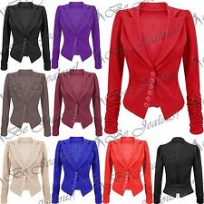 Womens Blazer Ladies Long Sleeve Tailored Ruched Coat Plain Button Tunic Jacket