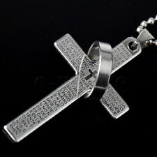 LORDS PRAYER Cross Necklace & Pendant Stainless Steel SILVER BLACK OR BLUE UK