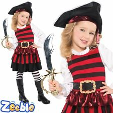 Little Girls Pirate Fancy Dress Costume includes Hat & Tights Age 3-6 Years