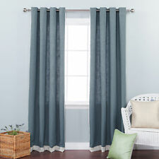 Bordered Heavyweight Solid Semi-Sheer Grommet Curtain Panels Set of 2