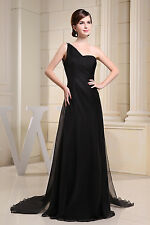 New Black Chiffon One Shoulder Sexy Backless Long Evening Dress The Bride Banque