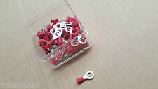 100 Pc ELECTRICAL INSULATED CRIMP RED EYELET CONNECTOR 6.4mm 12Volt HORNBY HOBBY