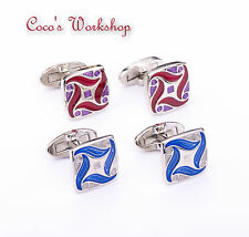 STAINLESS STEEL ENAMEL TRIBAL PATTERN SQUARE BUTTON MENS CUFFLINKS GIFT BAG