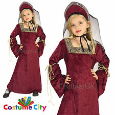 Childs Girls Lady of the Palace Tudor Medieval Fancy Dress Party Costume