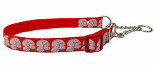 red 101 Dalmatian puppy half check choke martingale medium large dog collar 1""