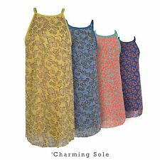 Ladies Womens New Party Summer Dress Floral Leopard Chiffon Beach Vest Top 8-14
