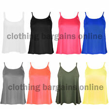 Womens Swing Vest Ladies Camisole Cami Strap Sleeveless Vest Flared Top 8-16