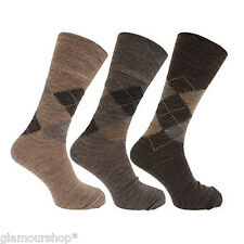 3 PAIRS Mens Lambs Wool / Acrylic Blend Argyle Socks Size 6 - 11 ASSORTED