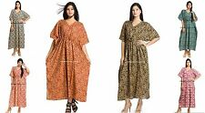 Paisley Cotton Printed Bikini Wear Casual Maxi Dress Kaftan Boho Indian Beach
