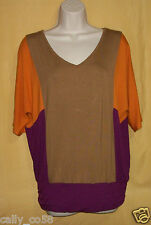 Cynthia Rowley womens oversize blousey dolman batwing tunic top purple orange XS