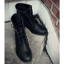 Charming Men's Retro Punk England-style High-top Combat Boots Shoes Black Brown