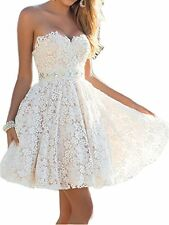 Women's Sweetheart Flower Lace Tulle Short Homecoming Dress with Beads Ivory