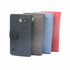 4 Colors Linen Leather Card Wallet Case Cover Pouch + Film For Sony Xperia M2