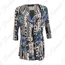 Ladies Womens 3/4 Sleeve Floral Ruched Side Collared Stretch Top Plus Size 14-28