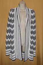 BCBG Max Azria women's black white knit open front sweater cardigan top $240