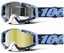 100% PERCENT RACECRAFT MX MOTOCROSS GOGGLES TIE-DYE BLUE CLEAR / GOLD MIRROR NEW