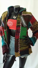 Hand Knitted Hippie Boho Woolen Patchwork Chunky Hooded Jacket Cardigan M L XL