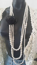 1920's Vintage Style Long Faux Pearl Black Rose Statement Wedding Necklace