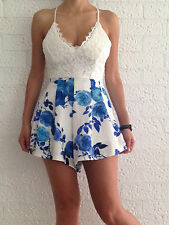 Women Sexy Casual Crochet V-Neck High Waist Backless Party Club Evening Romper