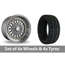 """4 x 17"""" Dare DR-RS Silver Gold Rivets Alloy Wheel Rims and Tyres -  205/40/17"""