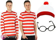 ADULT CHARACTER COSTUME SCHOOL BOOK WEEK STRIPED TOP & HAT & GLASSES FANCY DRESS