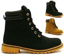 WOMENS LADIES BLACK CAMEL LACE UP GRIP SOLE WORK BUILDERS BIKER ANKLE BOOTS SIZE