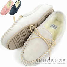 Ladies / Womens Genuine Suede Leather Moccasin / Slippers with Warm Wool Lining