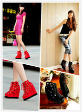 Women Lady Fashion Super High Wedge Heels Sandals Shoes Lace Up Peep Toe Size