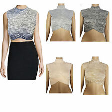 NEW WOMENS TURTLE NECK LADIES SLEEVELESS POLO CROP TOP STRETCH VEST SHIRT