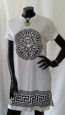 90s Vtg Retro New Oversize White Boyfriend Zip Lion Print T Shirt Dress Godsent