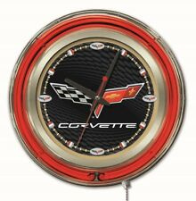 "Holland Bar Stool Corvette - C6 15"" Double Neon Ring Logo Wall Clock"