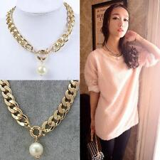 Fashion Pearl Jewelry Pendant Chunky Chain Crystal Pearl Statement Bib Necklace