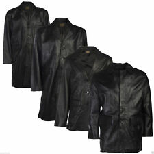 Mens Leather Trench Jacket Brown Black Real 100% Genuine Everyday Style Fashion