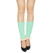 Women Lace Trim Ribbed Hollow Out Knitted Leg Warmers Pair