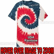 Mens Tie Dye T-Shirt USA Rainbow Spiral Design S-XL 2XL 3XL 4XL Tye Died NEW!