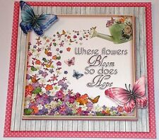 Handmade Greeting Card 3D All Occasion With Flowers And Butterflies W/Sentiment