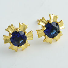 18k Gold Filled Flower Multi-Color Crystal Stud Earings fashion jewelry