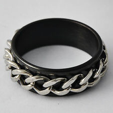 Mystic Mens adjustable Black Stainless Steel Chain Ring Size 7 8 9 10 11