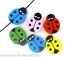Wholesale Lots Mixed Painted Ladybug Wood Spacer Beads 19x15mm B05727