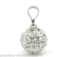 Wholesale Lots Clear Bling Pave Rhinestone Ball Pendants 18x10mm