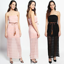 TheMogan Lace Overlay Strapless Belted Maxi Dress W Elastic Blouson Top
