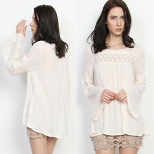 TheMogan Embroidered Pleated Peasant Top Boho Bell Long Sleeve Blouse