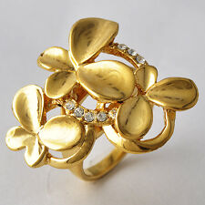 Fashion Womens 14K Gold Filled Butterfly Flower Cz Cocktail Ring Size7-9 Vintage