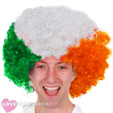 EIRE IRISH AFRO WIG ST PATRICKS DAY FANCY DRESS COSTUME ACCESSORY IRELAND RUGBY