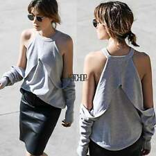 Sexy Womens Halter Neck Off Shoulder Long Sleeve Loose T Shirt Blouse Tops
