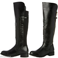 NEW WOMENS BLACK DOLCIS FAUX LEATHER BUCKLE KNEE HIGH RIDING BIKER LADIES BOOTS