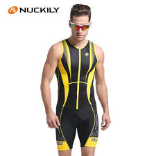 Mens Sleeveless Cycling Jersey Skinsuit Bicycle Set Triathlon Suits M-XXL Yellow
