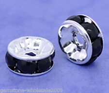 Wholesale Lots Silver Plated Black Rhinestone Rondelle Spacers Beads 8x4mm