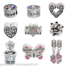 Wholesale Lots DIY Love Heart Mom Spacer Beads Fit Bracelets Mother's Day